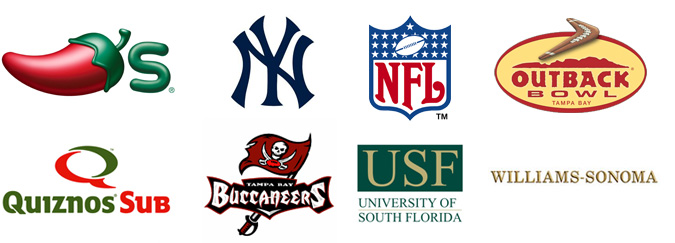 Featured Customers: Chili's, New York Yankees, NFL, Outback Bowl, Quiznos Sub, Tampa Bay Buccaneers, University of South Florida and Williams-Sonoma